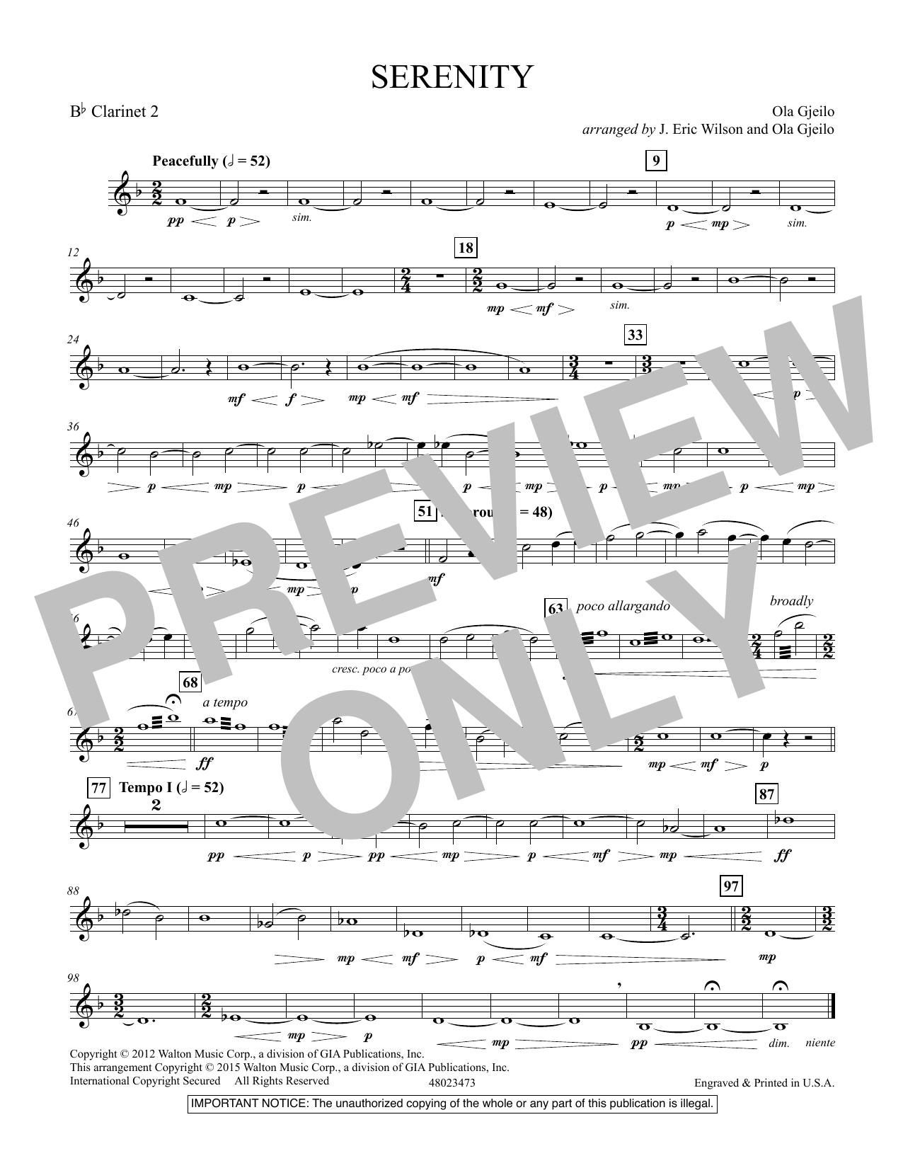 Serenity - Bb Clarinet 2 (Concert Band)