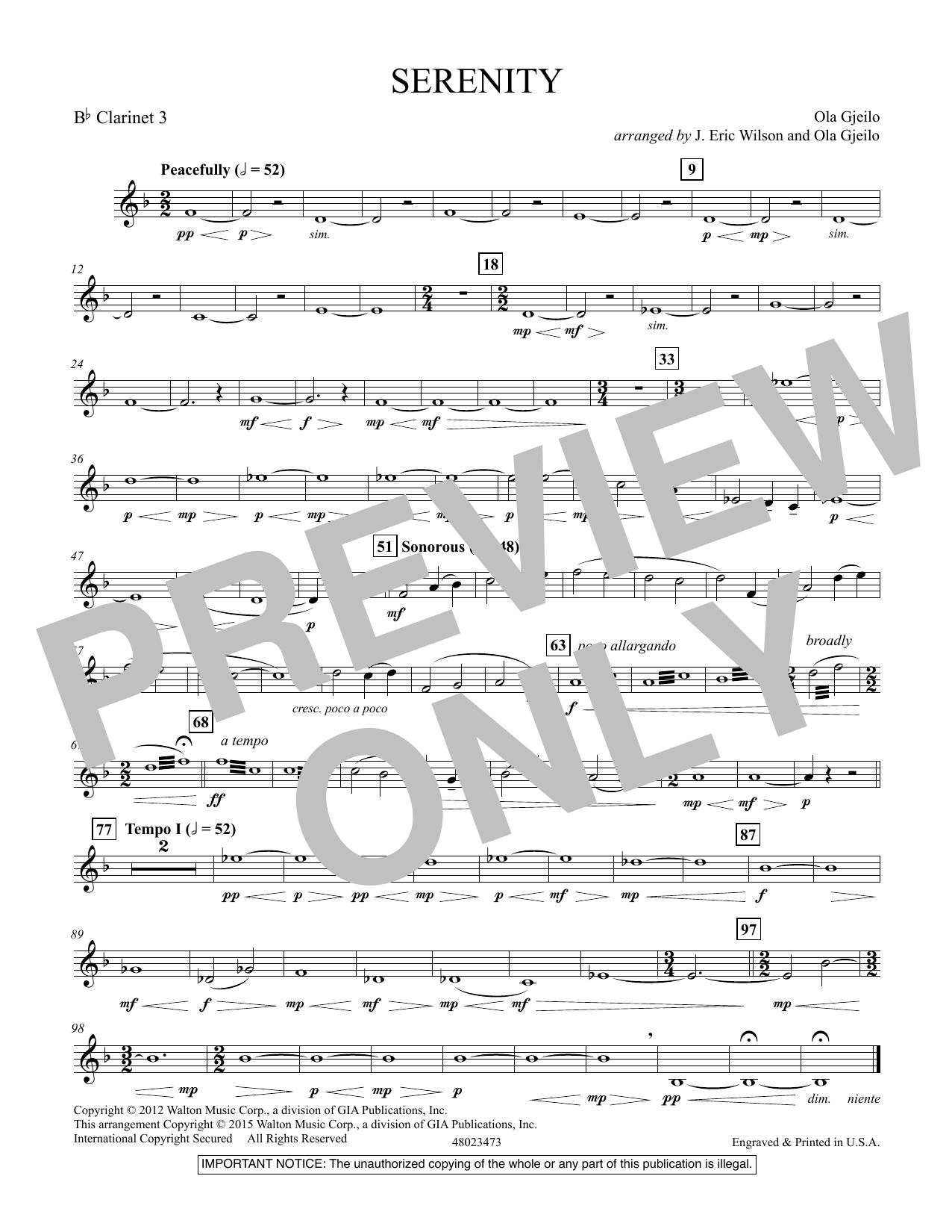 Serenity - Bb Clarinet 3 (Concert Band)