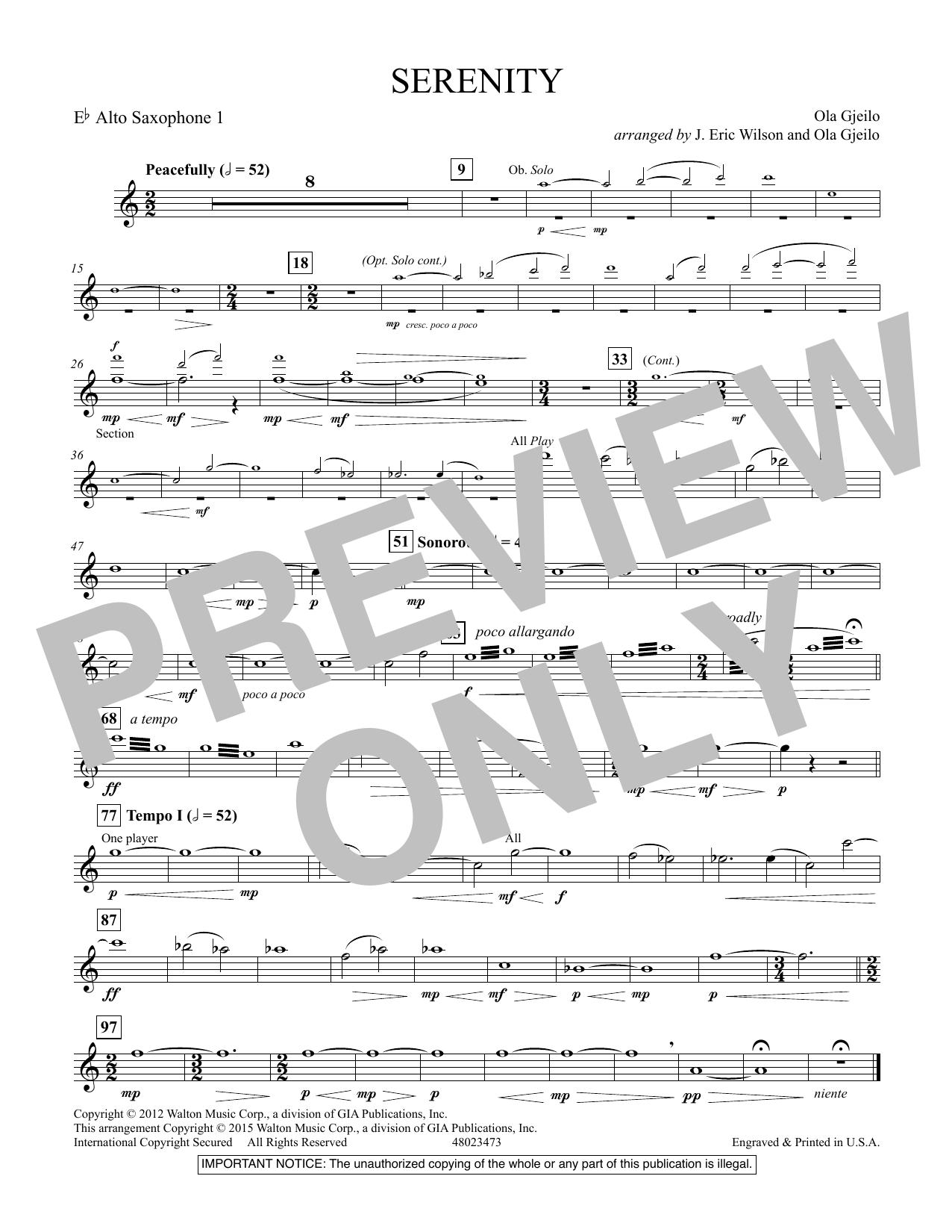 Serenity - Eb Alto Saxophone 1 (Concert Band)