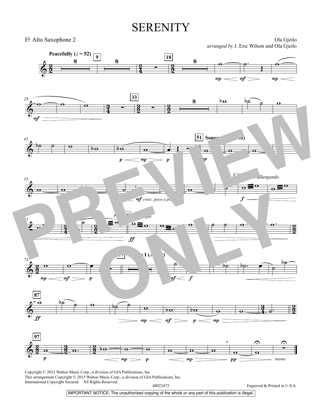 Serenity - Eb Alto Saxophone 2 (Concert Band)