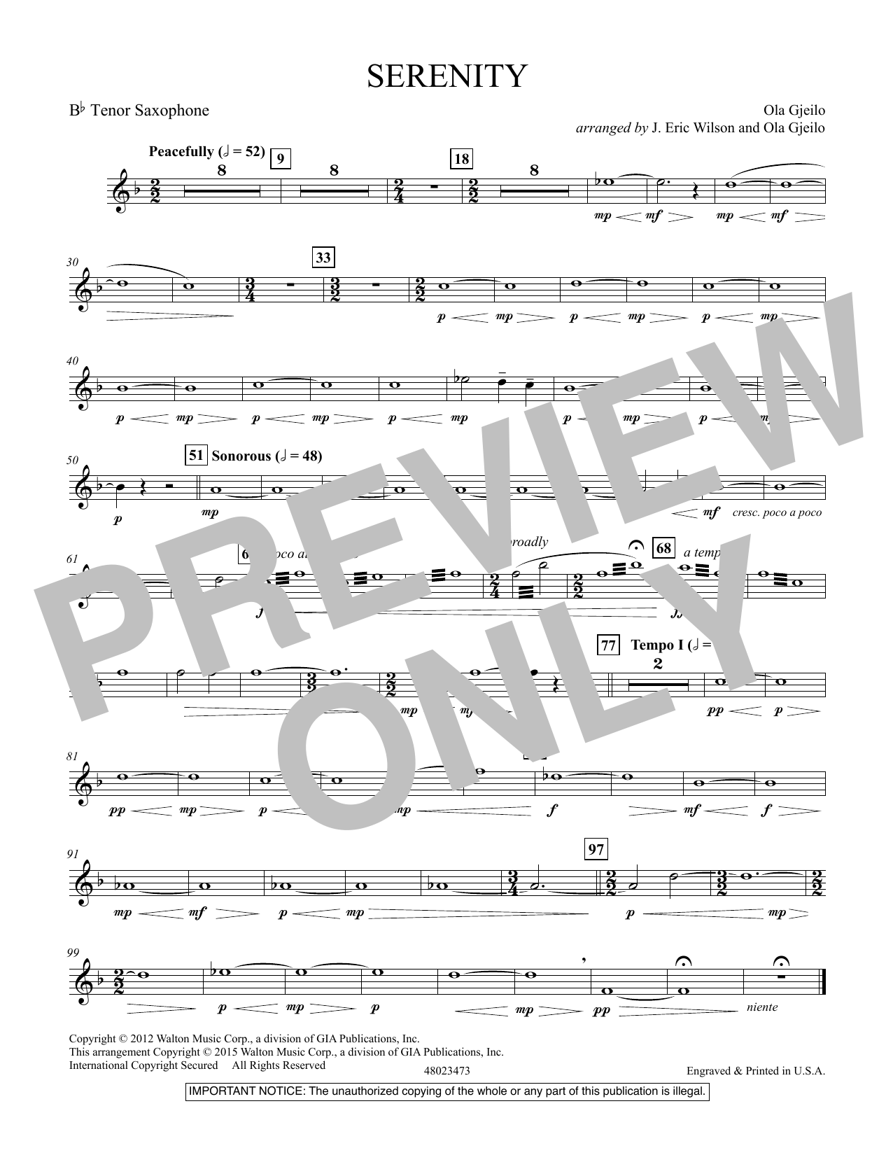 Serenity - Bb Tenor Saxophone (Concert Band)