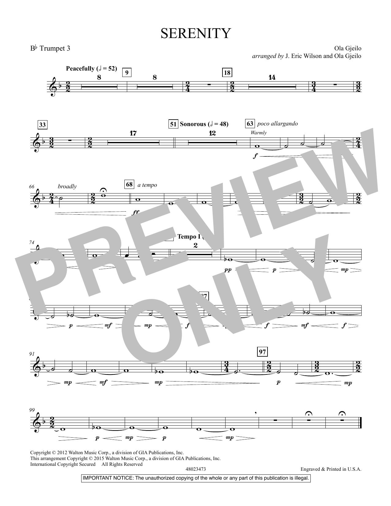 Serenity - Bb Trumpet 3 (Concert Band)