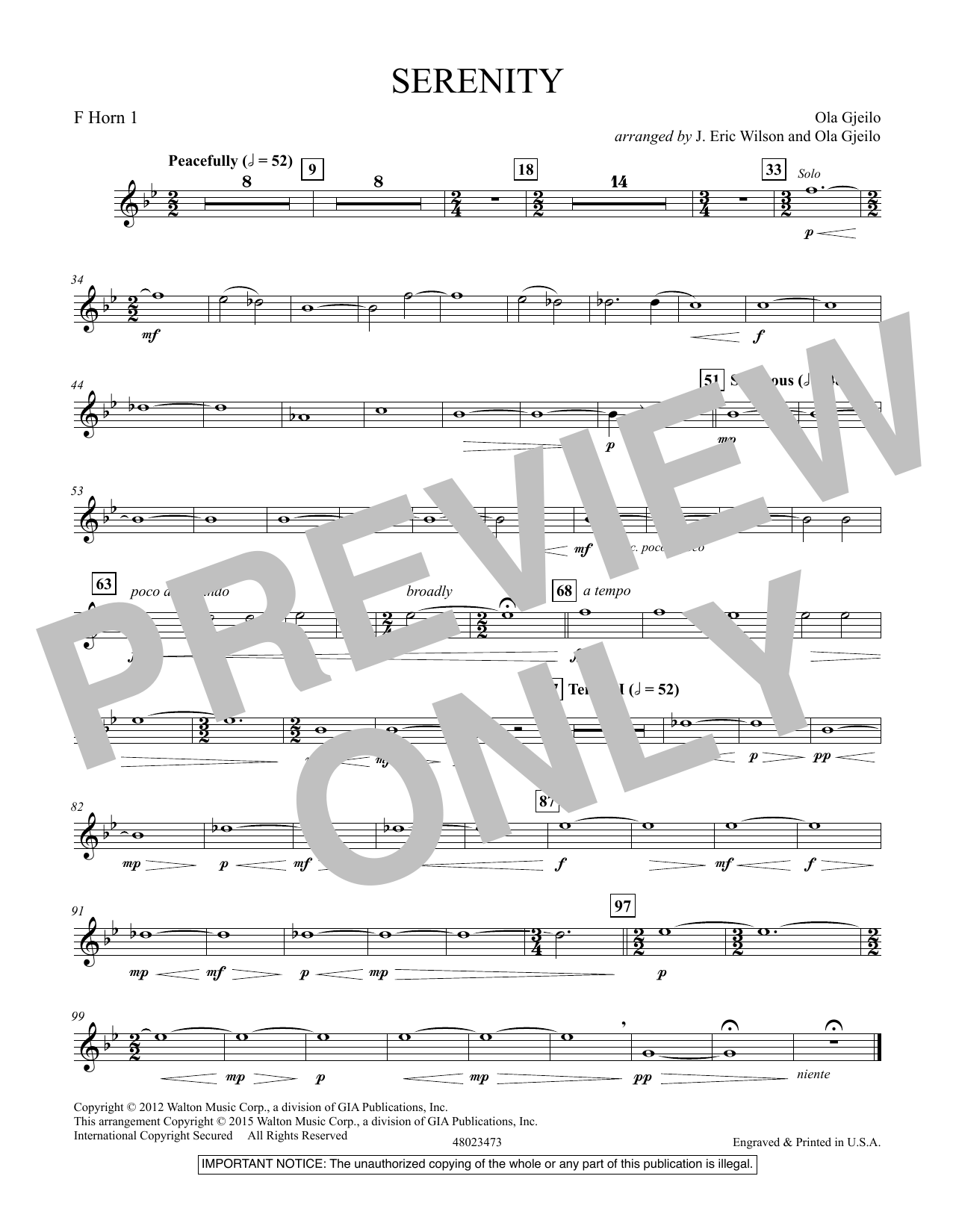Serenity - F Horn 1 (Concert Band)