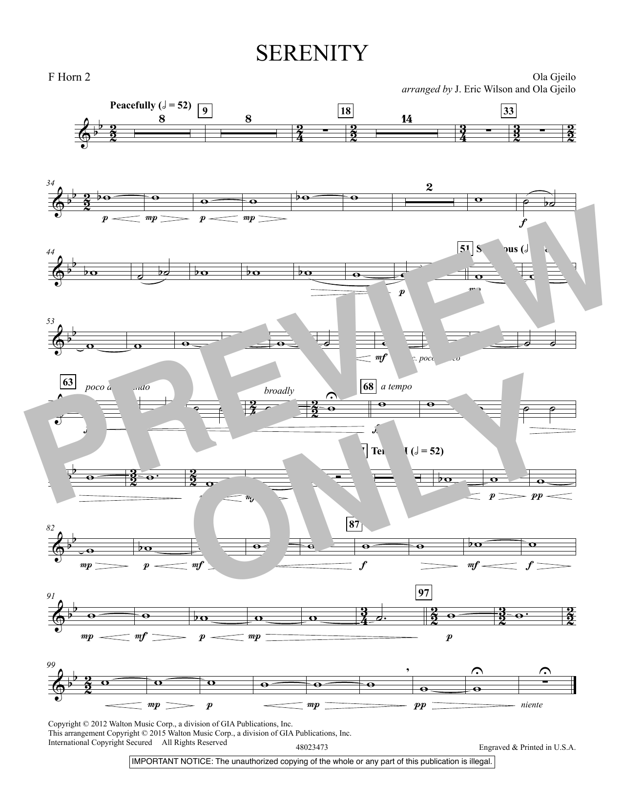 Serenity - F Horn 2 (Concert Band)