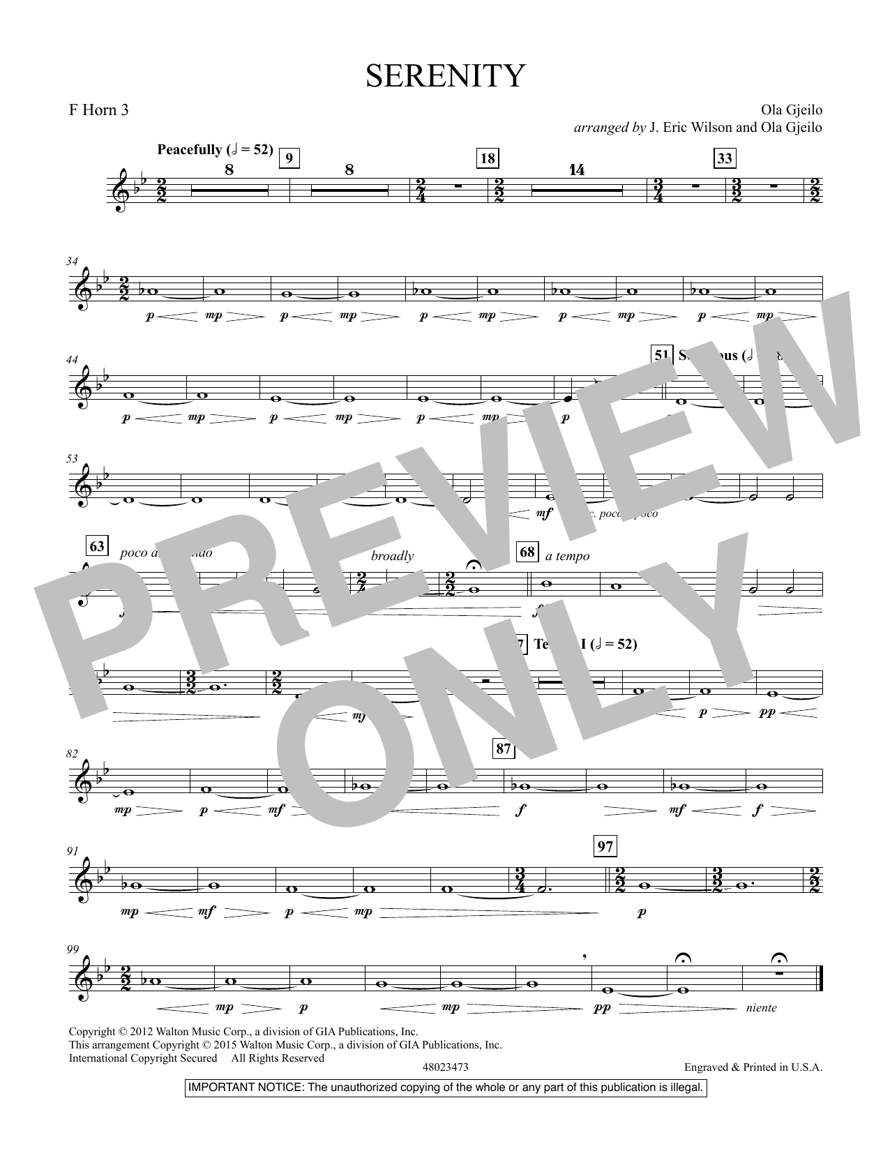 Serenity - F Horn 3 (Concert Band)