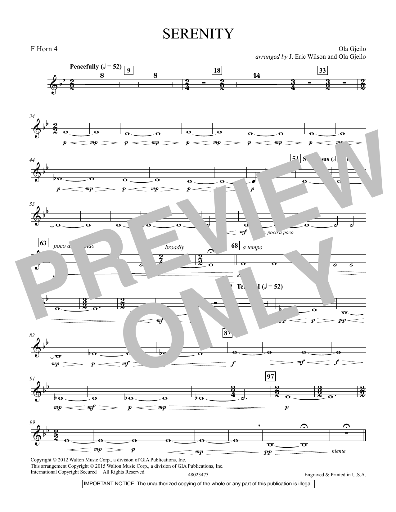 Serenity - F Horn 4 (Concert Band)
