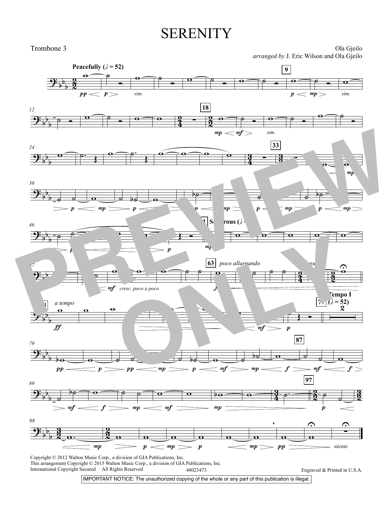 Serenity - Trombone 3 (Concert Band)