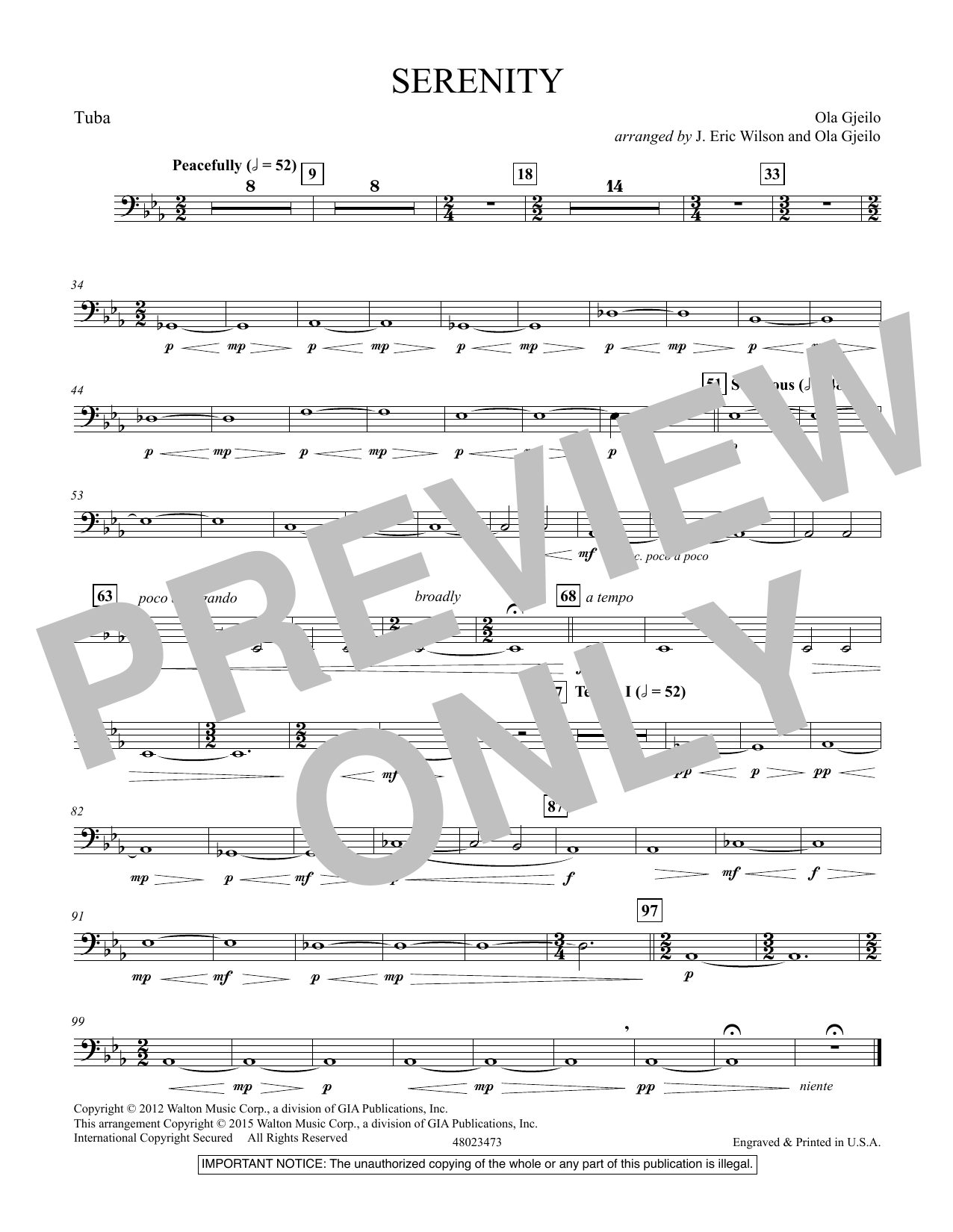 Serenity - Tuba (Concert Band)