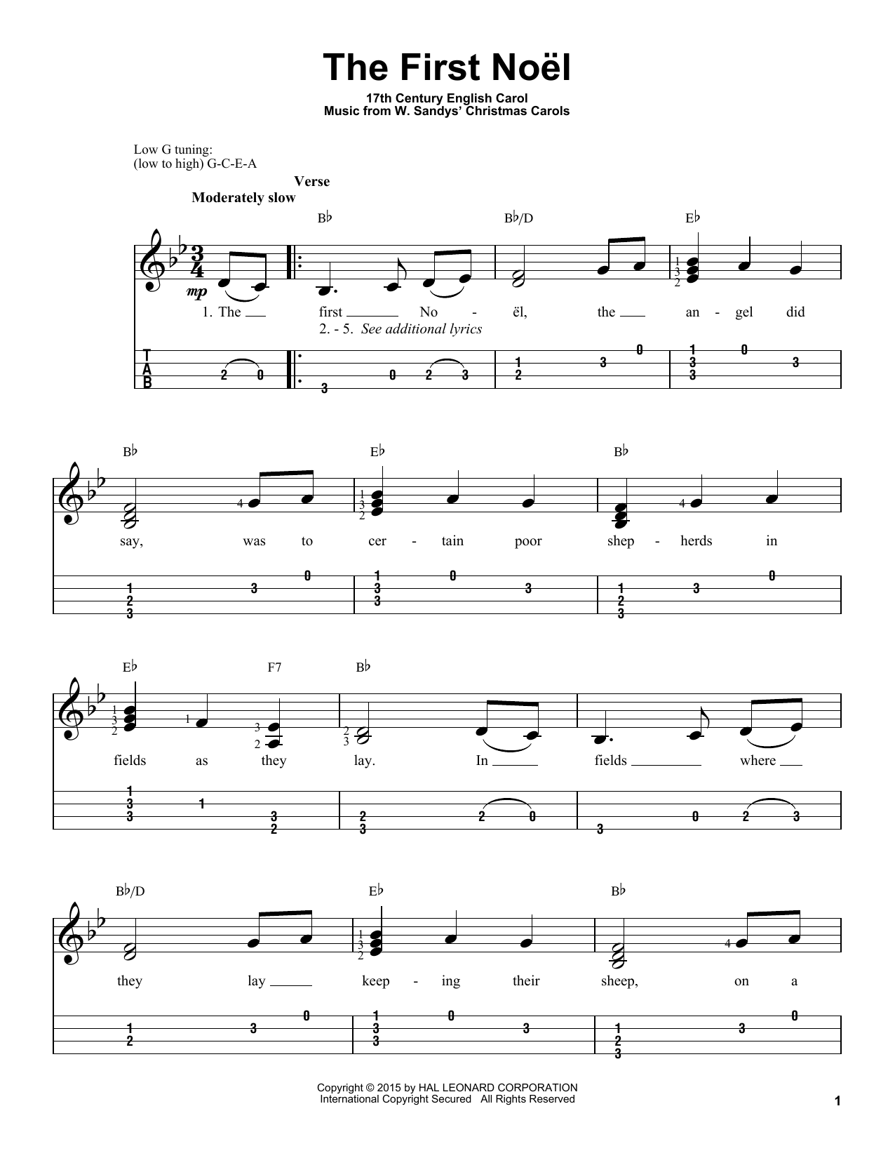 Tablature guitare The First Noel de Christmas Carol - Ukulele
