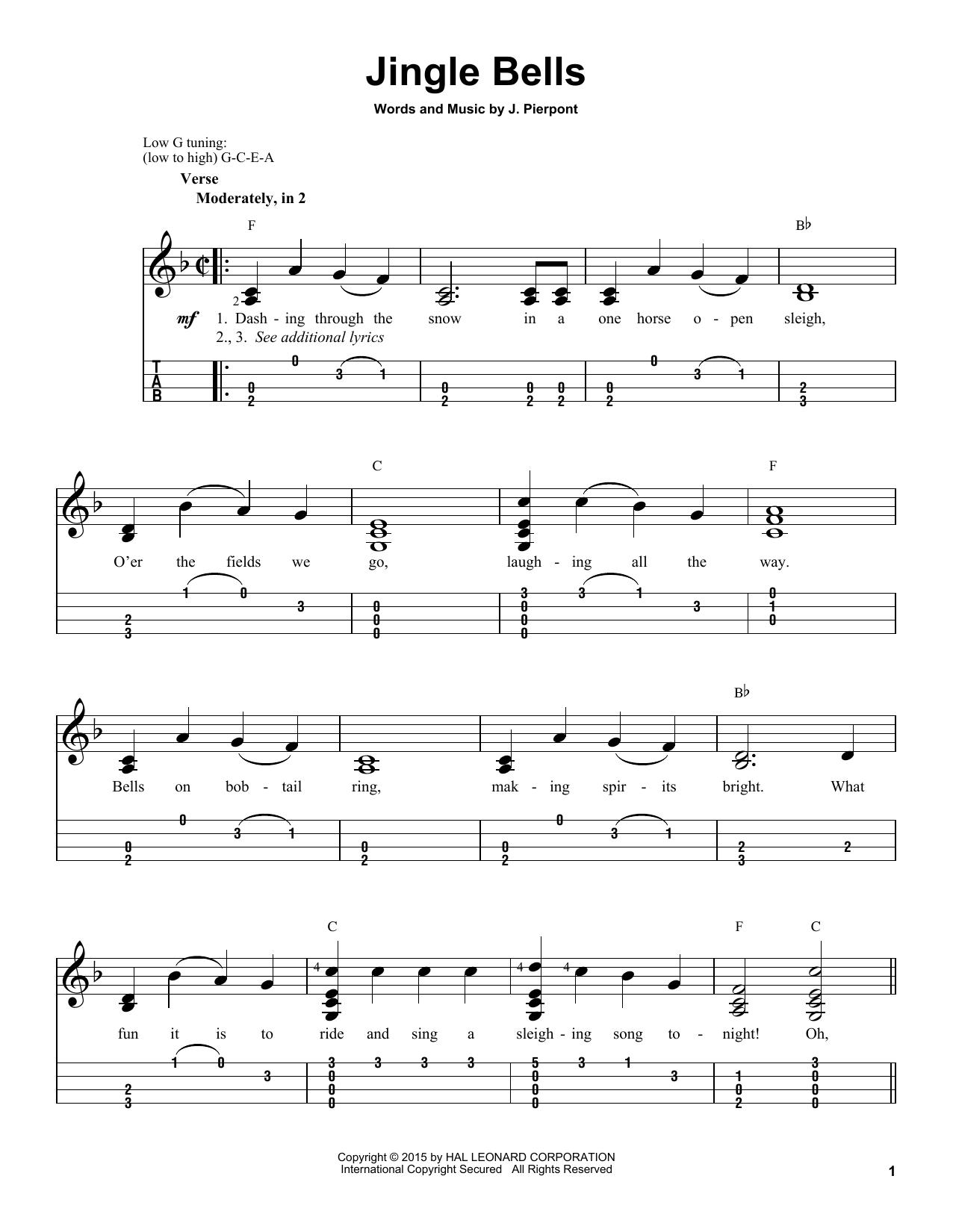Tablature guitare Jingle Bells de J. Pierpont - Ukulele