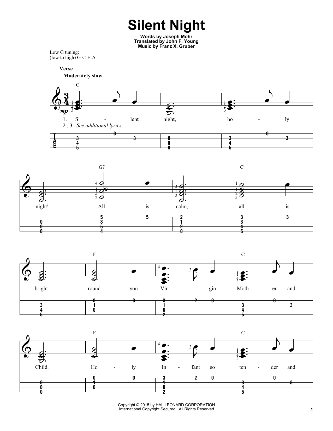 Silent Night (Easy Ukulele Tab)