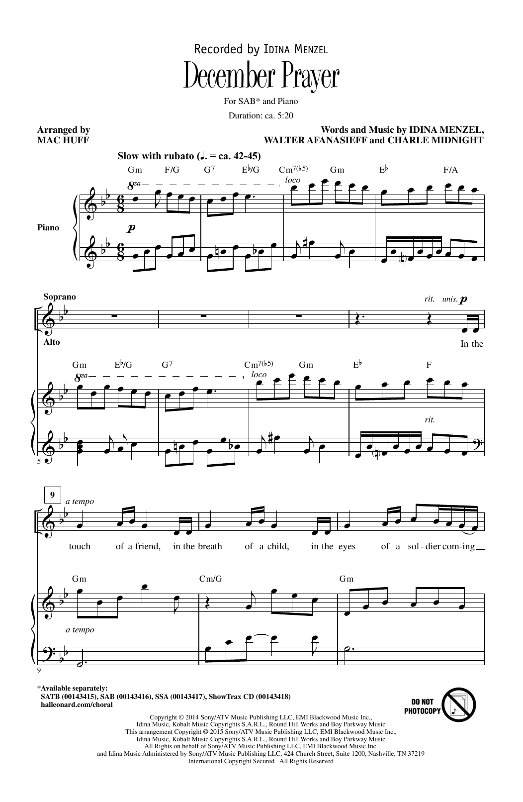 December Prayer (arr. Mac Huff) Sheet Music