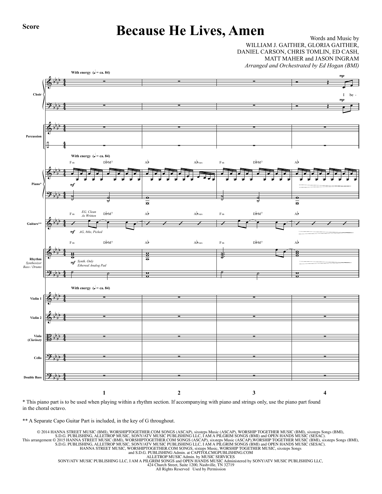Because He Lives, Amen (COMPLETE) sheet music for orchestra/band by Ed Hogan, Chris Tomlin, Daniel Carson, Ed Cash, Gloria Gaither, Jason Ingram, Matt Maher and William J. Gaither. Score Image Preview.
