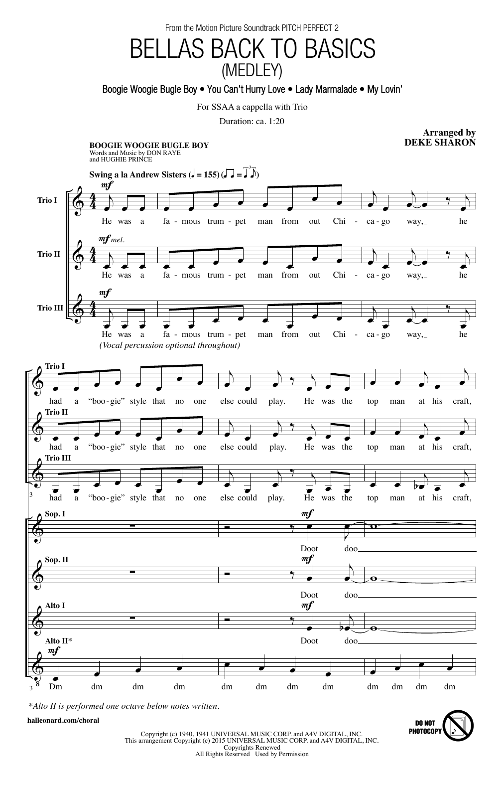 Bellas Back To Basics (Medley) Sheet Music
