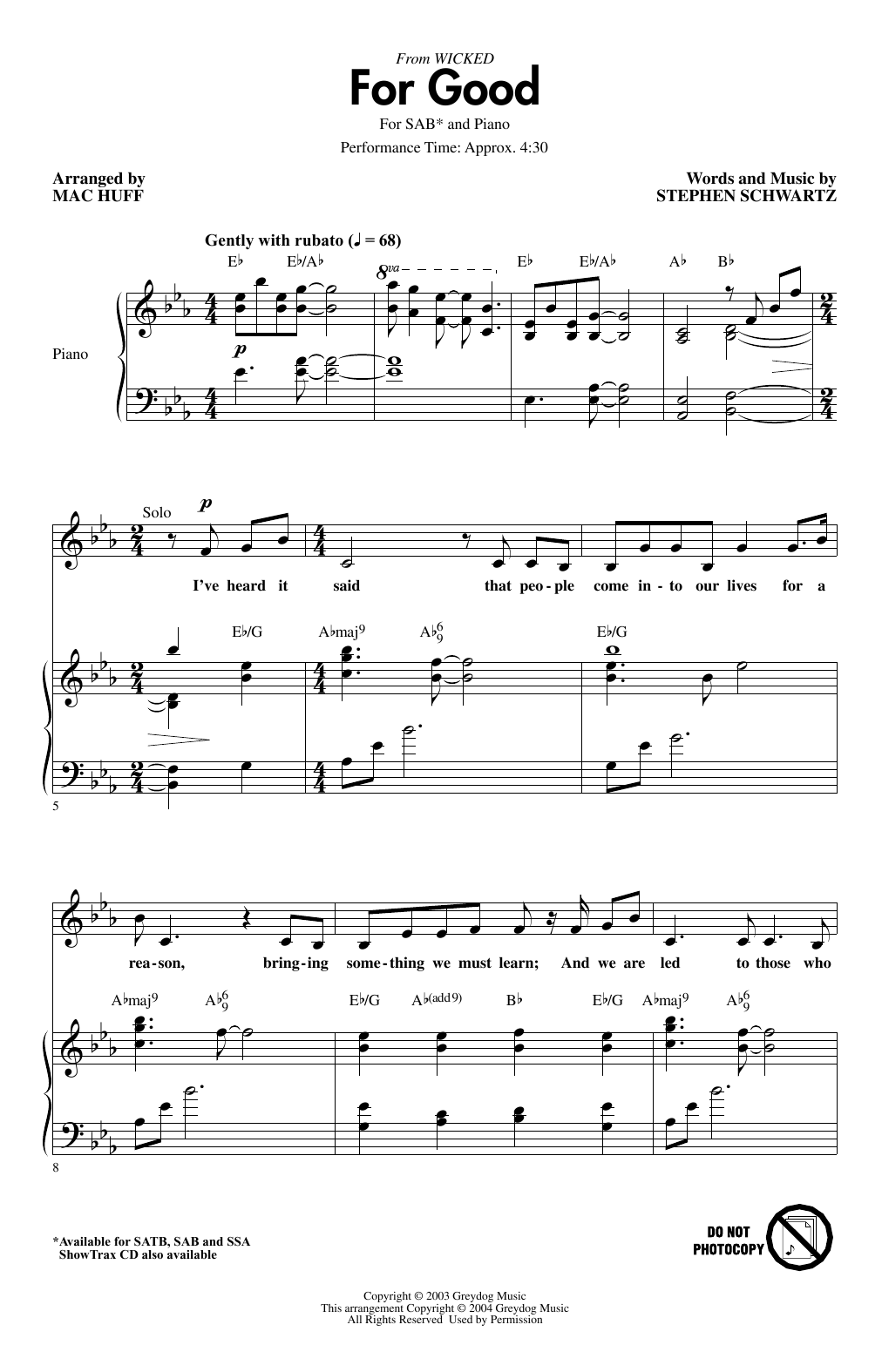 For Good (from Wicked) (arr. Mac Huff) Sheet Music
