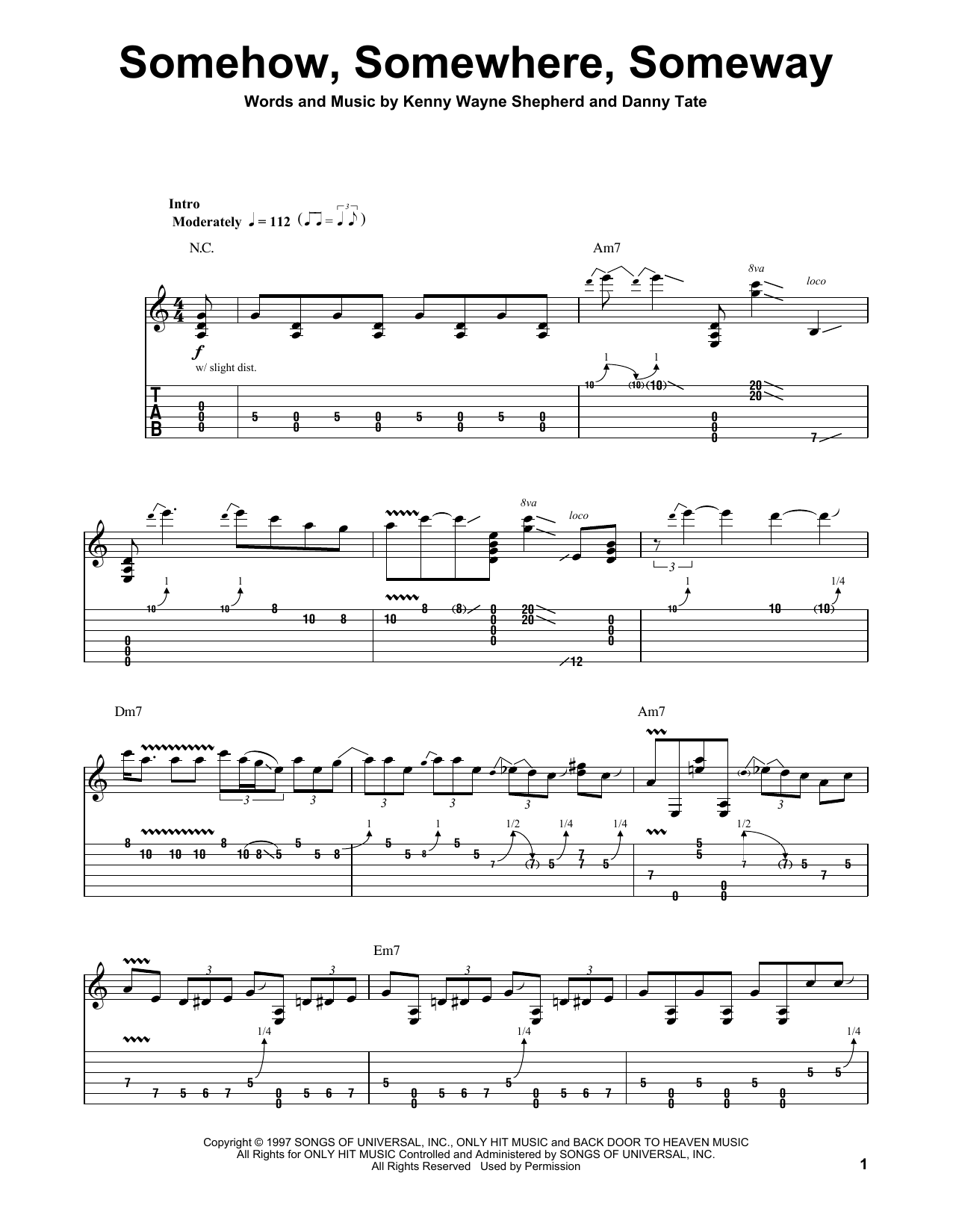 Somehow, Somewhere, Someway (Guitar Tab (Single Guitar))