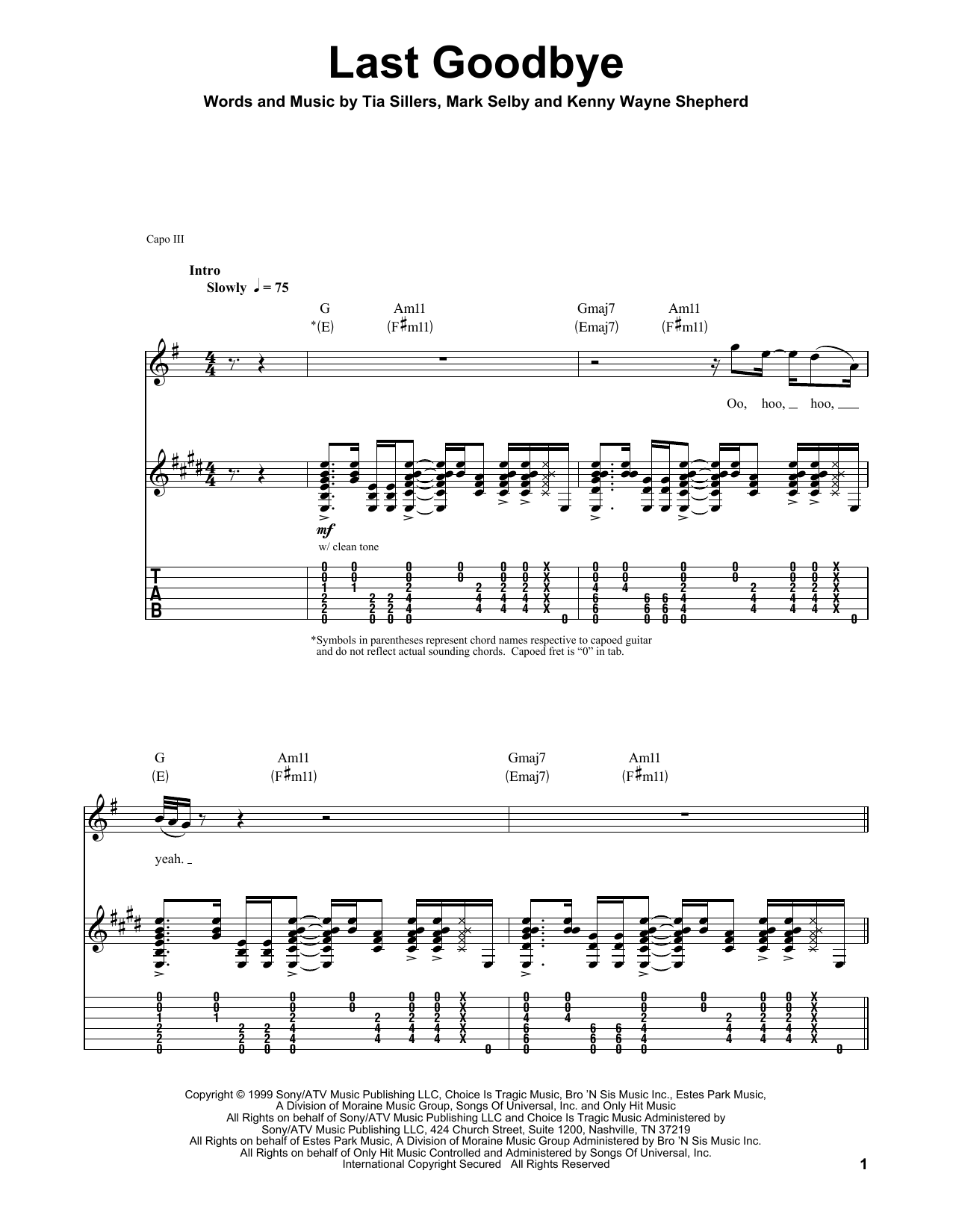 Last Goodbye Sheet Music