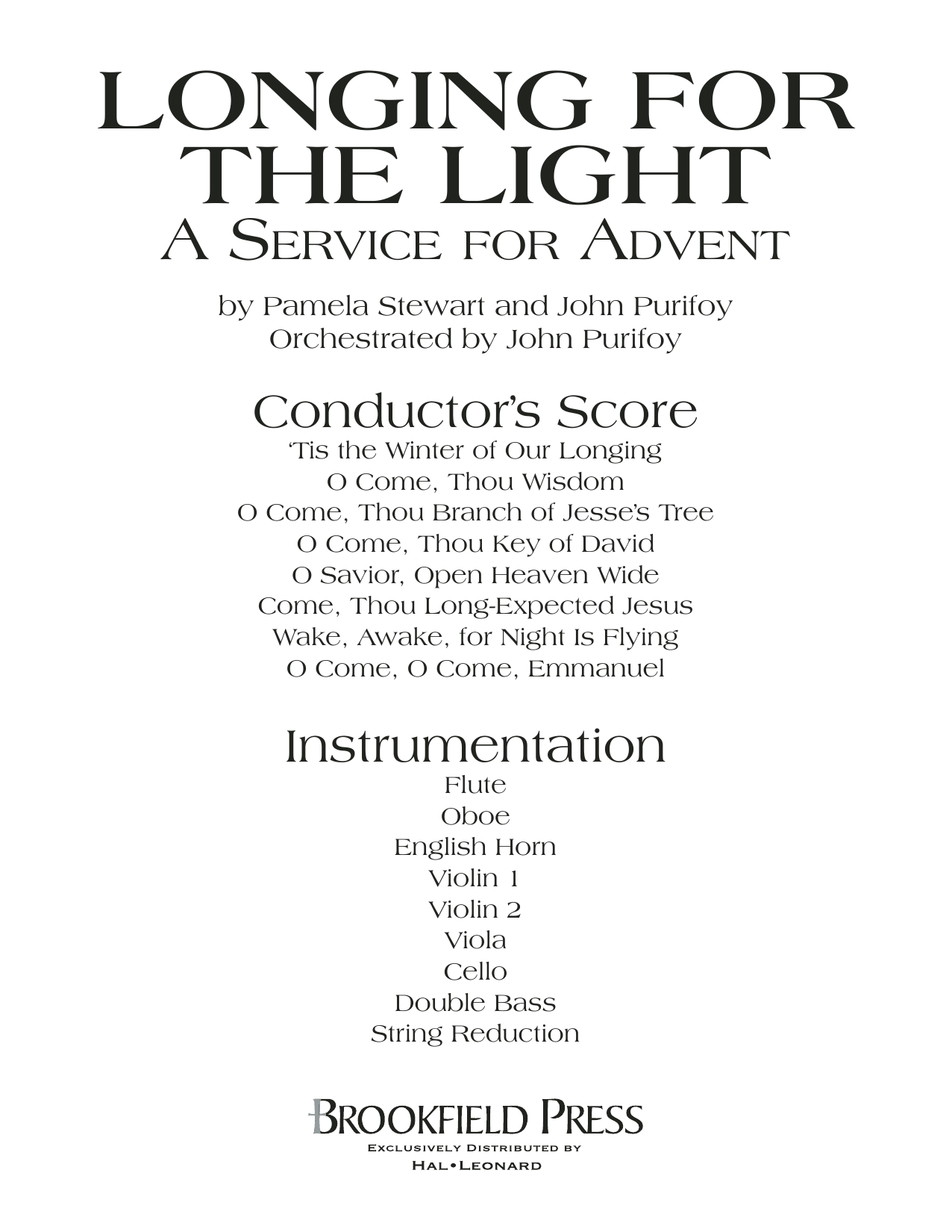 Longing For The Light (A Service For Advent) - Full Score Sheet Music