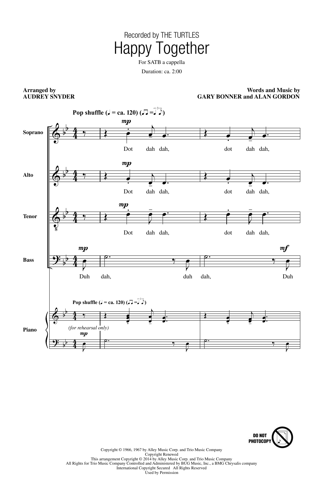 Partition chorale Happy Together de The Turtles - SATB