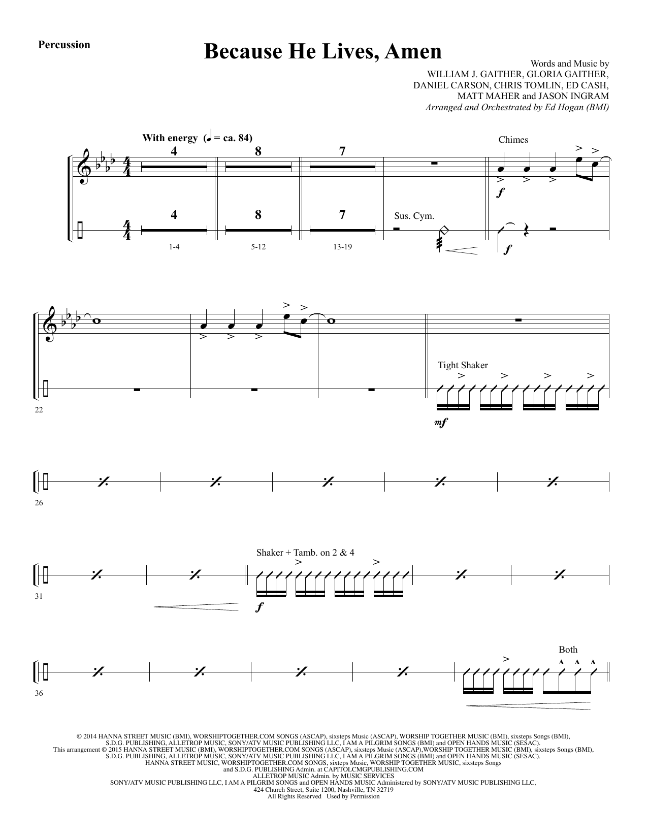Because He Lives, Amen - Percussion Sheet Music