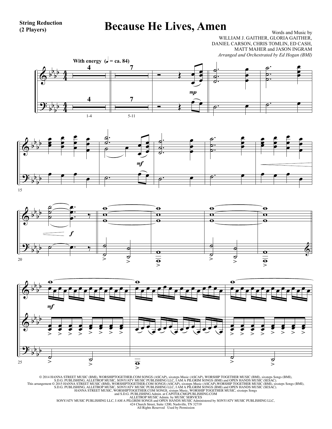 Because He Lives, Amen - Keyboard String Reduction Sheet Music