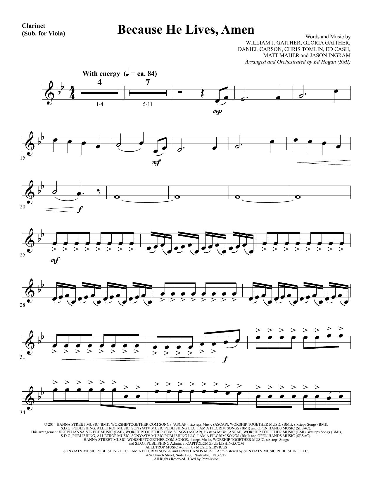 Because He Lives, Amen - Clarinet (sub Viola) Sheet Music