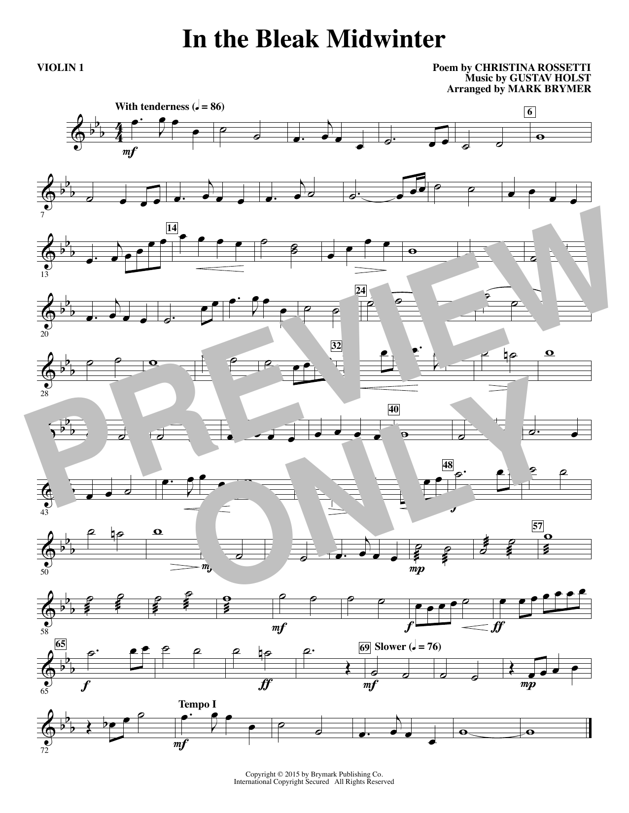 In The Bleak Midwinter - Violin 1 (Choir Instrumental Pak)