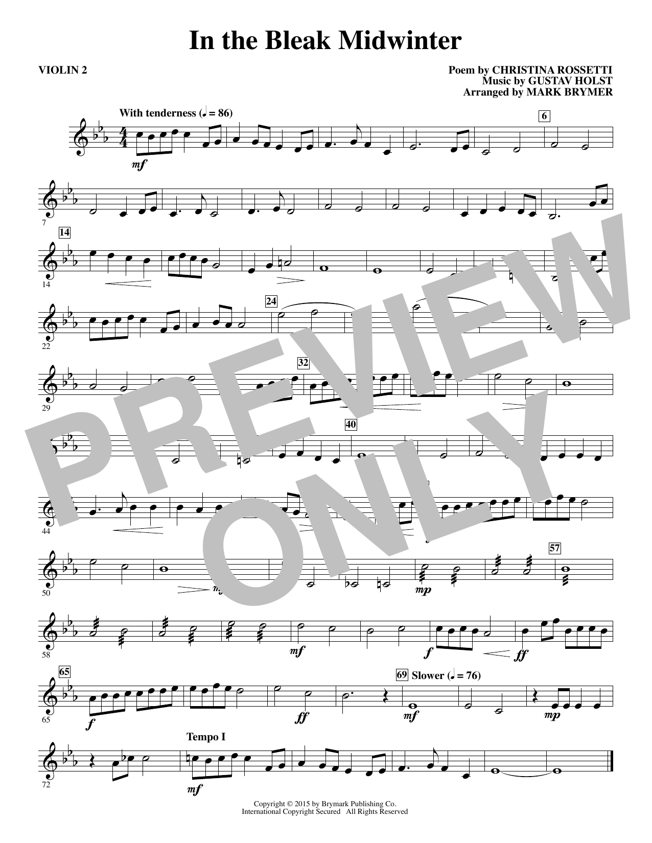 In The Bleak Midwinter Violin 2 Sheet Music Mark Brymer Choral