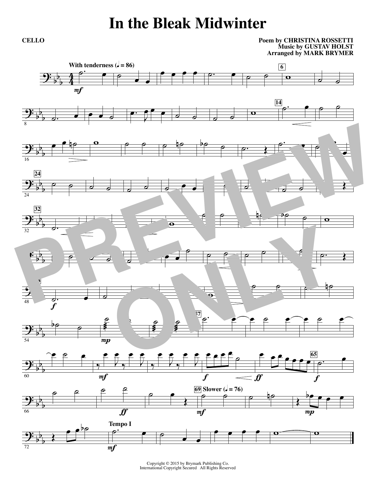 In The Bleak Midwinter - Cello (Choir Instrumental Pak)