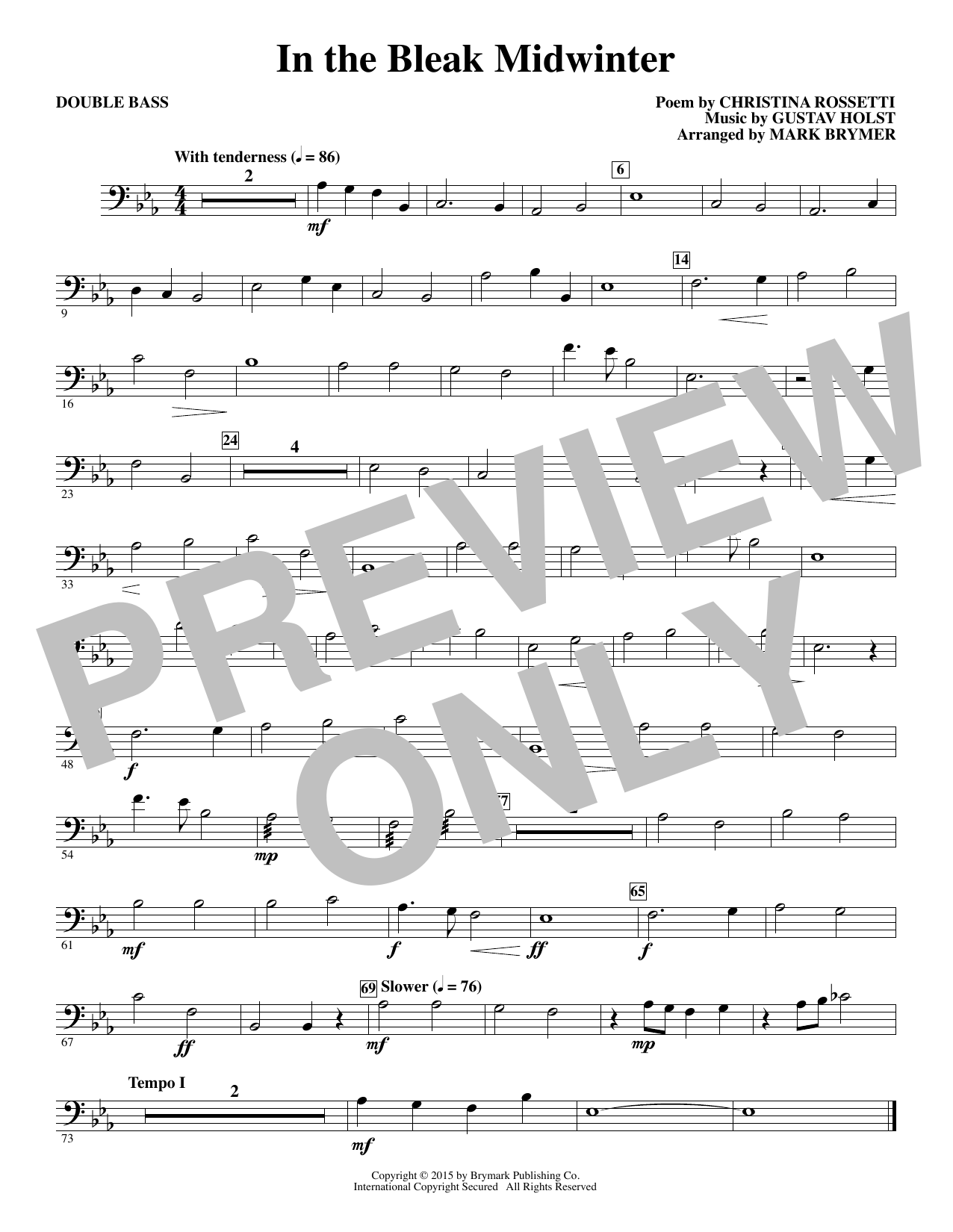 In The Bleak Midwinter - Double Bass (Choir Instrumental Pak)