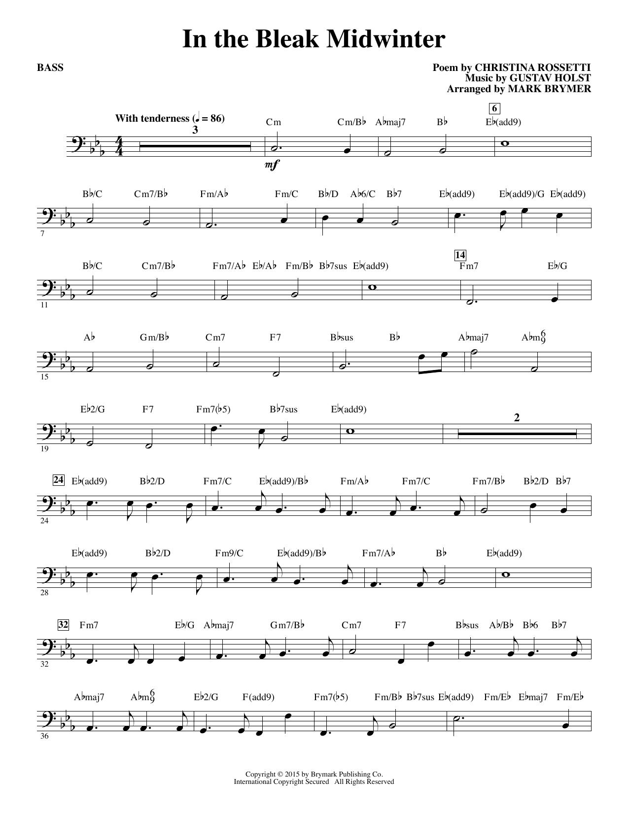 In The Bleak Midwinter Bass Mark Brymer Choral Instrumental Pak