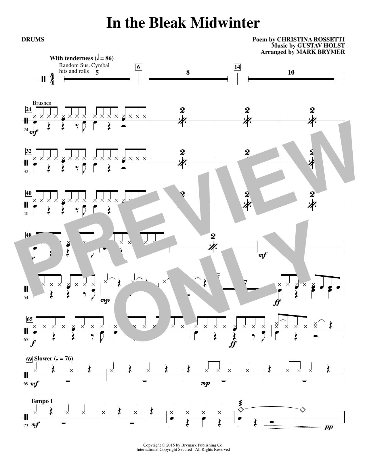 In The Bleak Midwinter - Drum Set (Choir Instrumental Pak)
