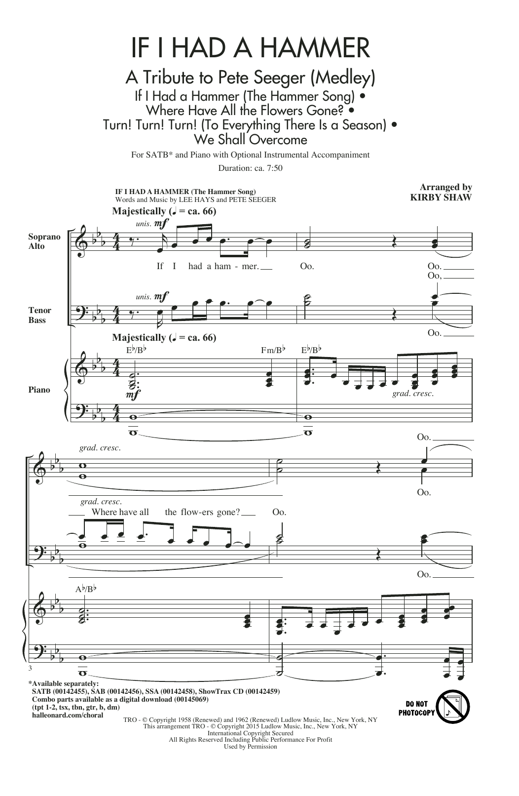 If i had a hammer (the hammer song) sheet music to download.