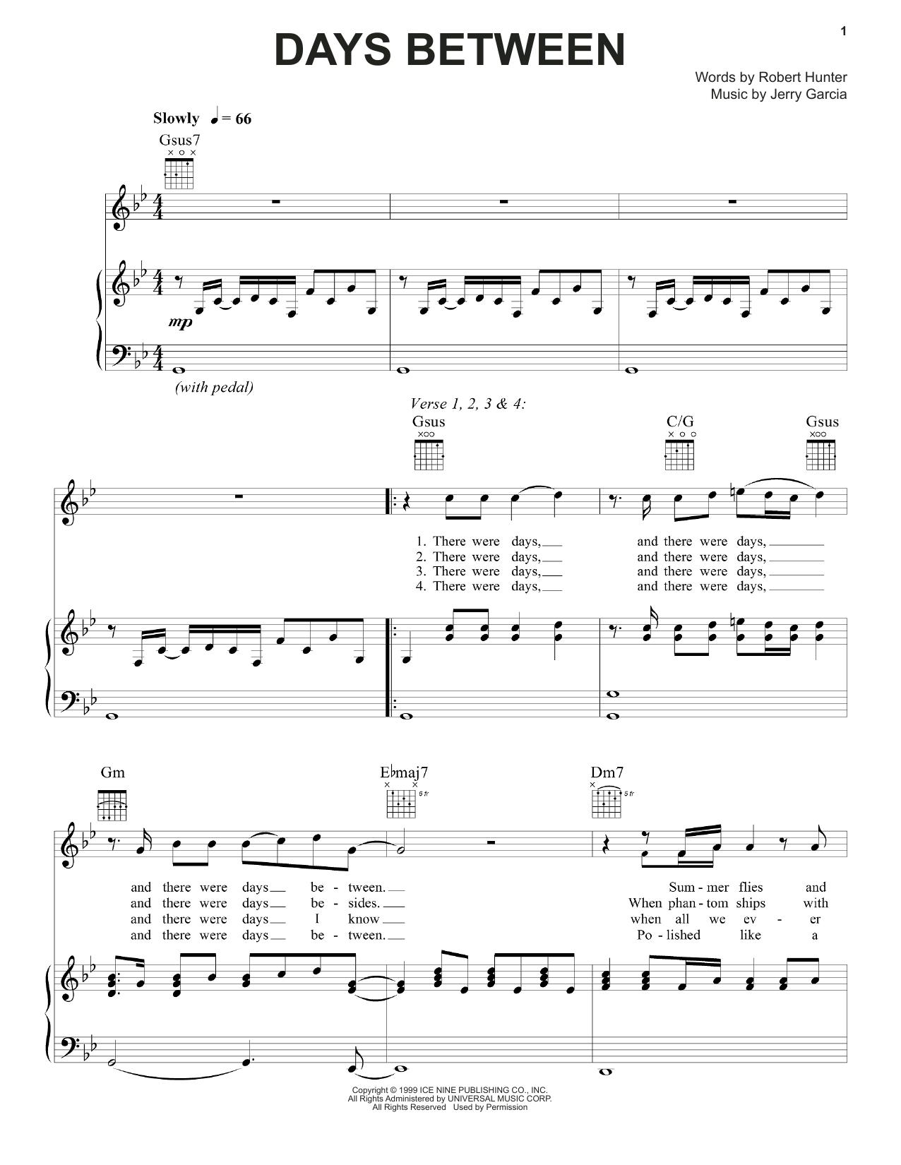 Days Between Sheet Music
