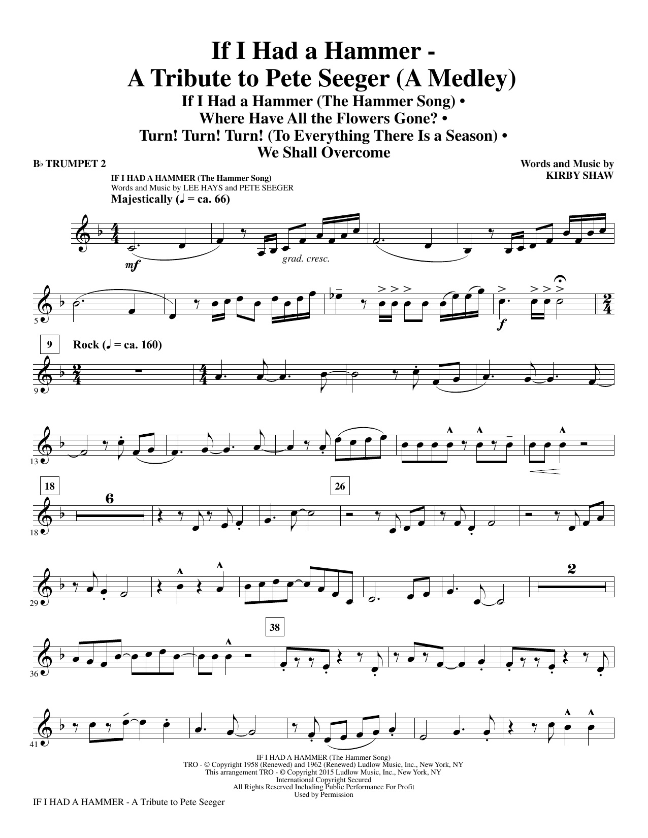 If I Had A Hammer - A Tribute to Pete Seeger - Bb Trumpet 2 (Choir Instrumental Pak)