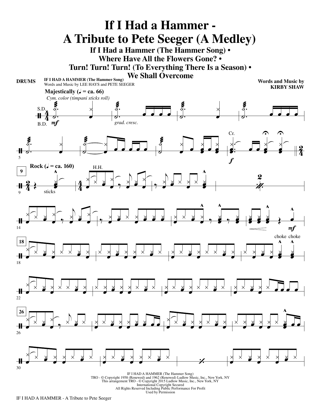 If I Had A Hammer - A Tribute to Pete Seeger - Drums Sheet Music