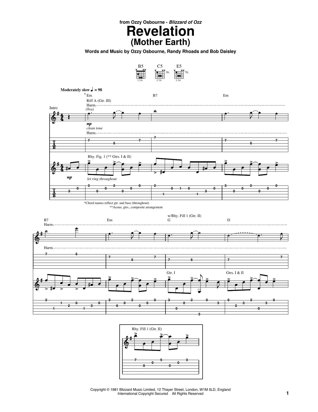 Tablature guitare Revelation (Mother Earth) de Ozzy Osbourne - Tablature Guitare