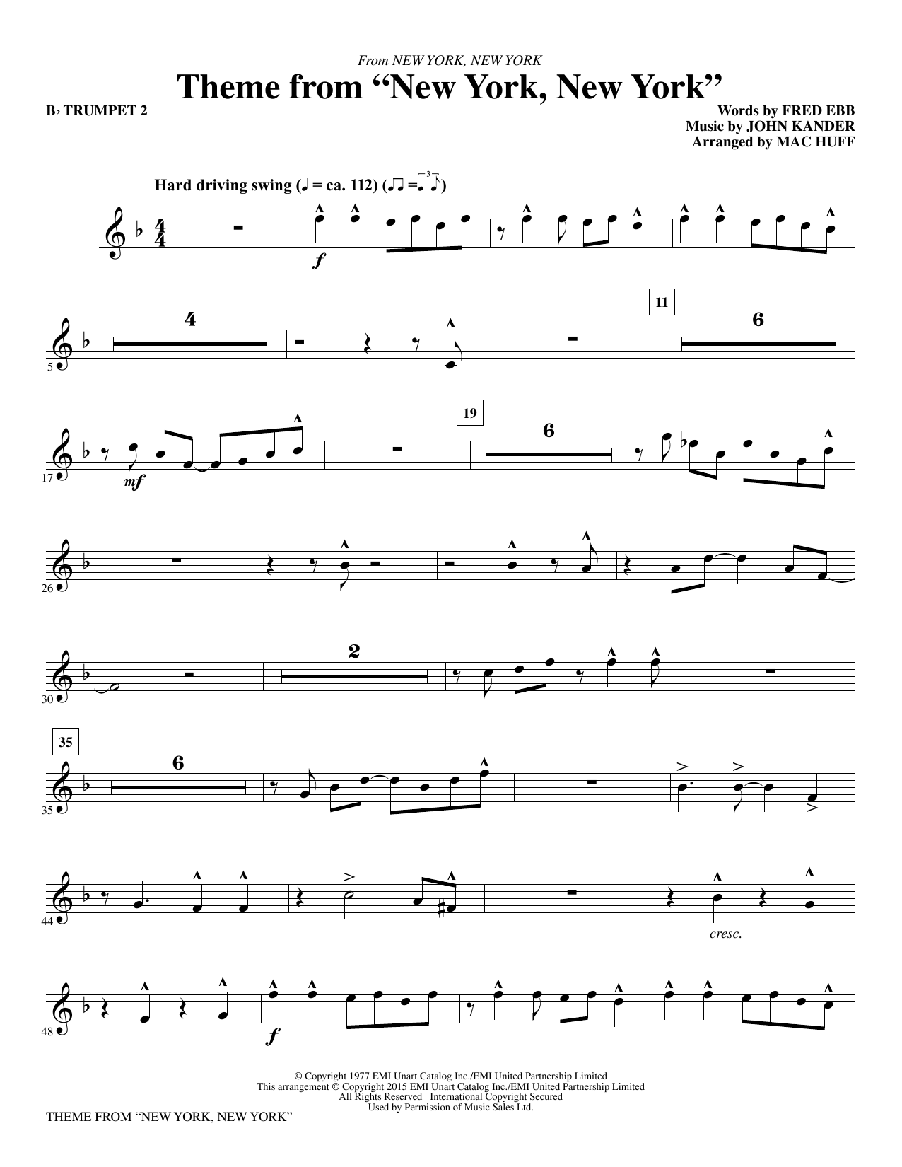 "Theme from ""New York, New York"" - Bb Trumpet 2 (Choir Instrumental Pak)"