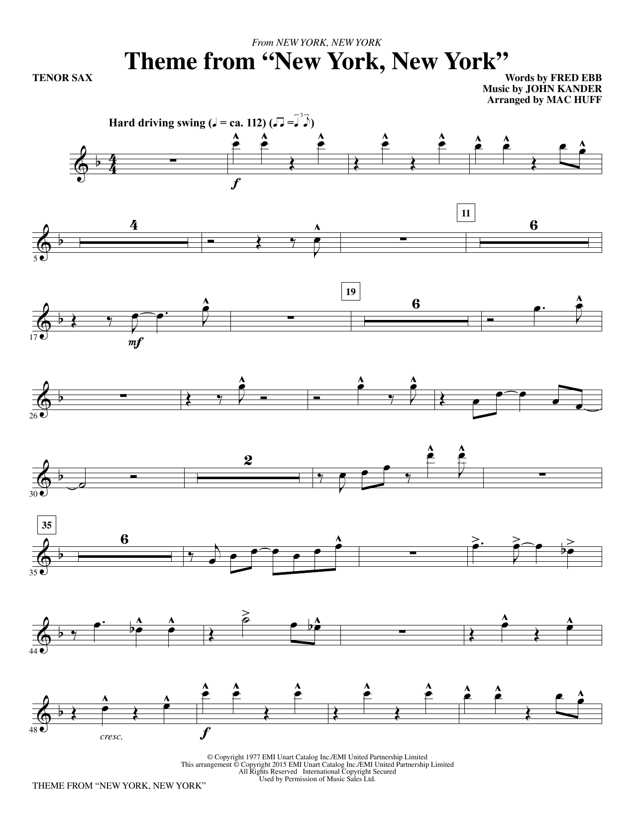 "Theme from ""New York, New York"" - Bb Tenor Saxophone (Choir Instrumental Pak)"