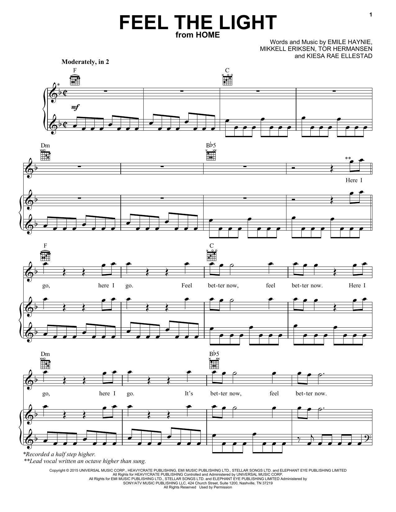 feel the light sheet music by jennifer lopez piano vocal guitar right hand melody 160516. Black Bedroom Furniture Sets. Home Design Ideas