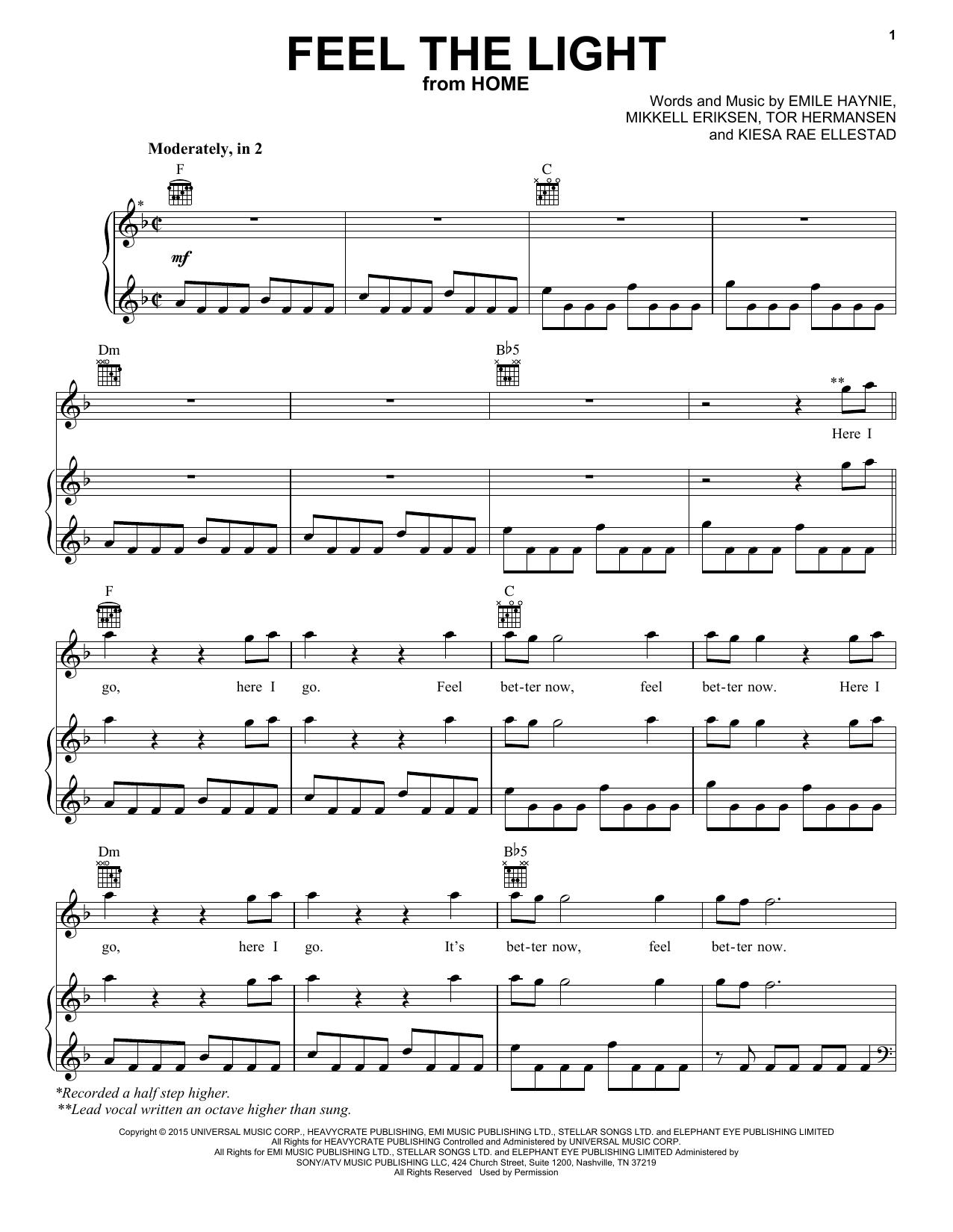 Partition piano Feel The Light de Jennifer Lopez - Piano Voix Guitare (Mélodie Main Droite)