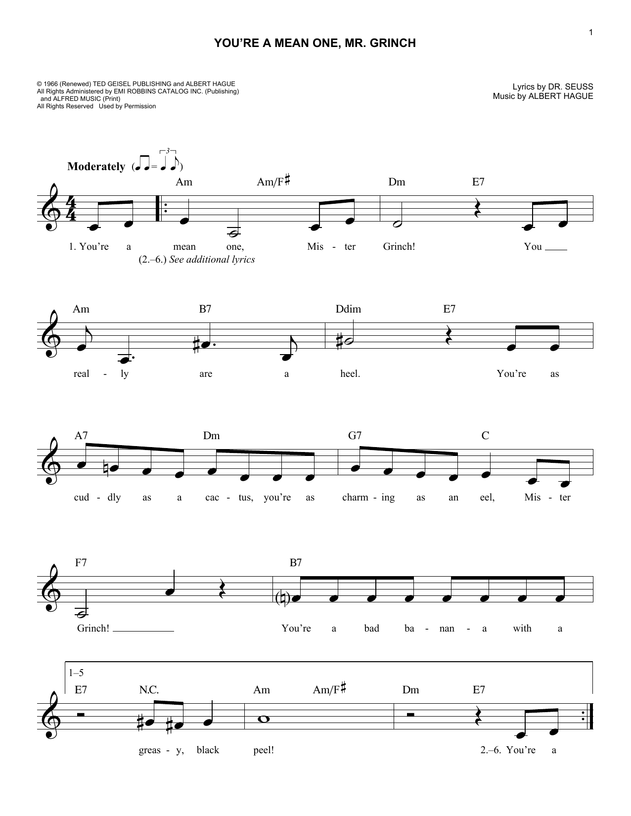 You're A Mean One, Mr. Grinch Sheet Music