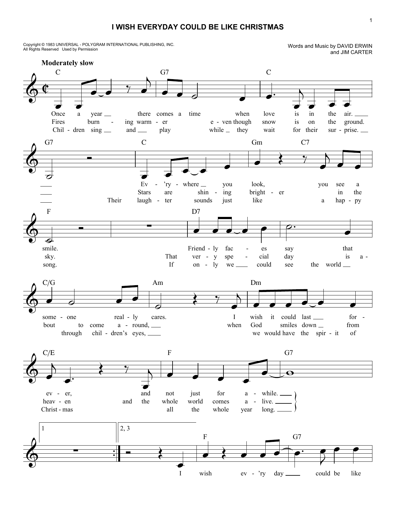I Wish Everyday Could Be Like Christmas (Lead Sheet / Fake Book)