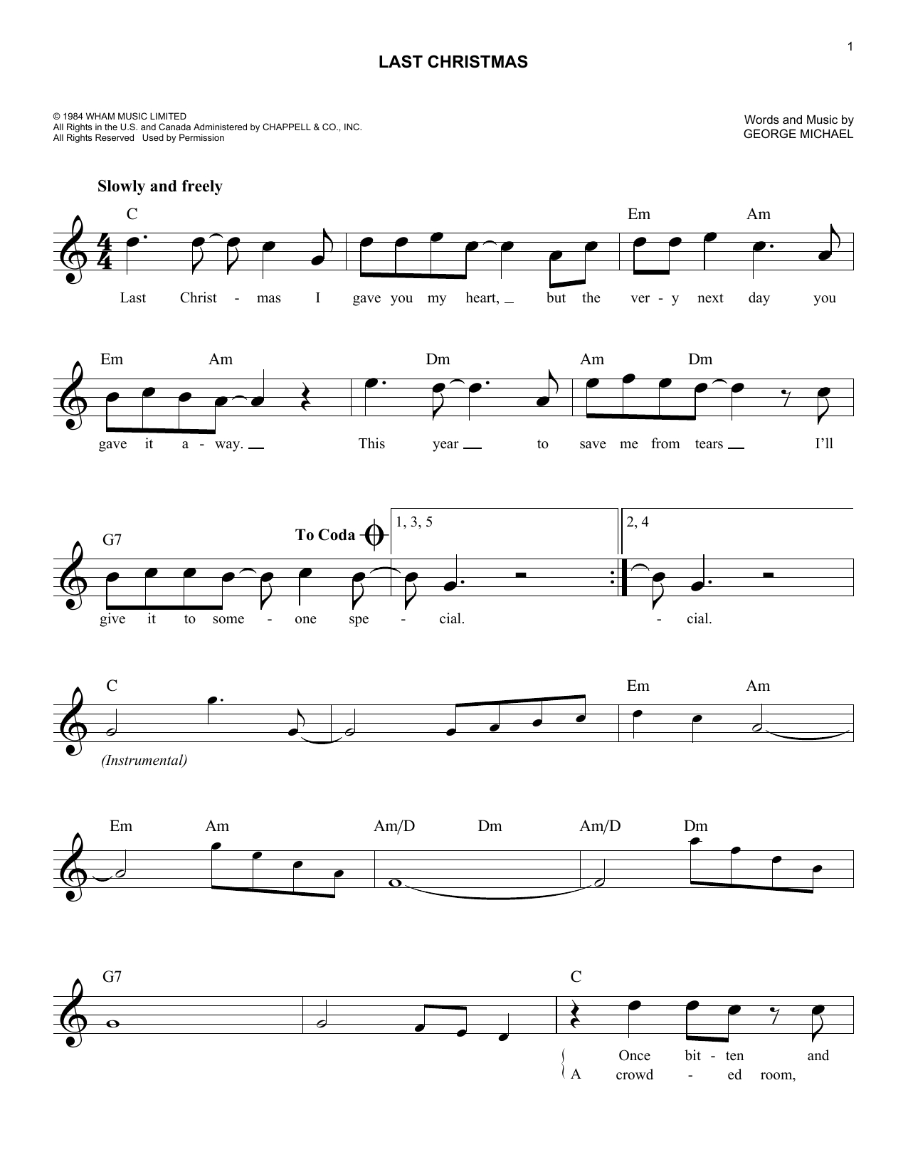 Last Christmas Sheet Music