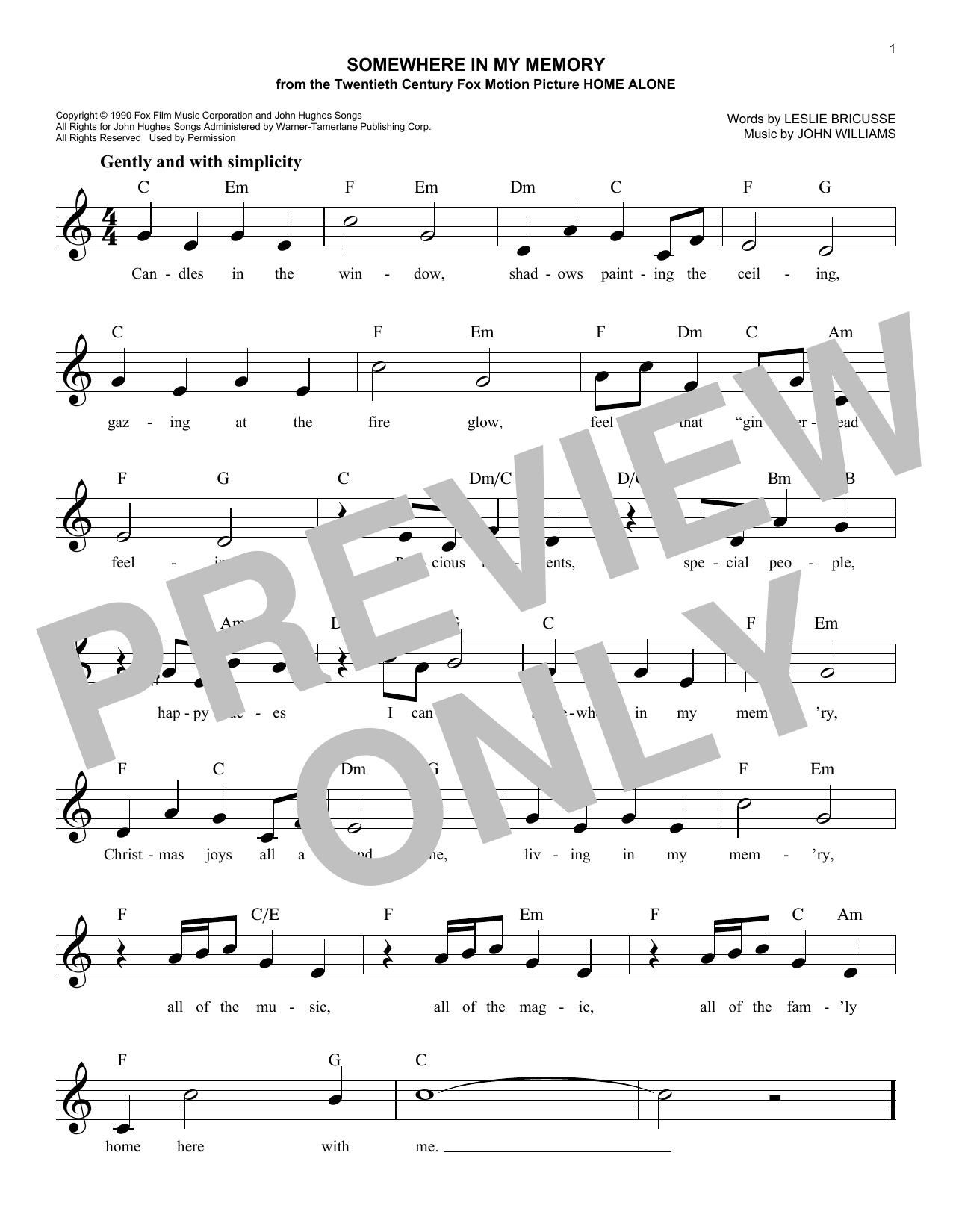 Somewhere In My Memory (Lead Sheet / Fake Book)