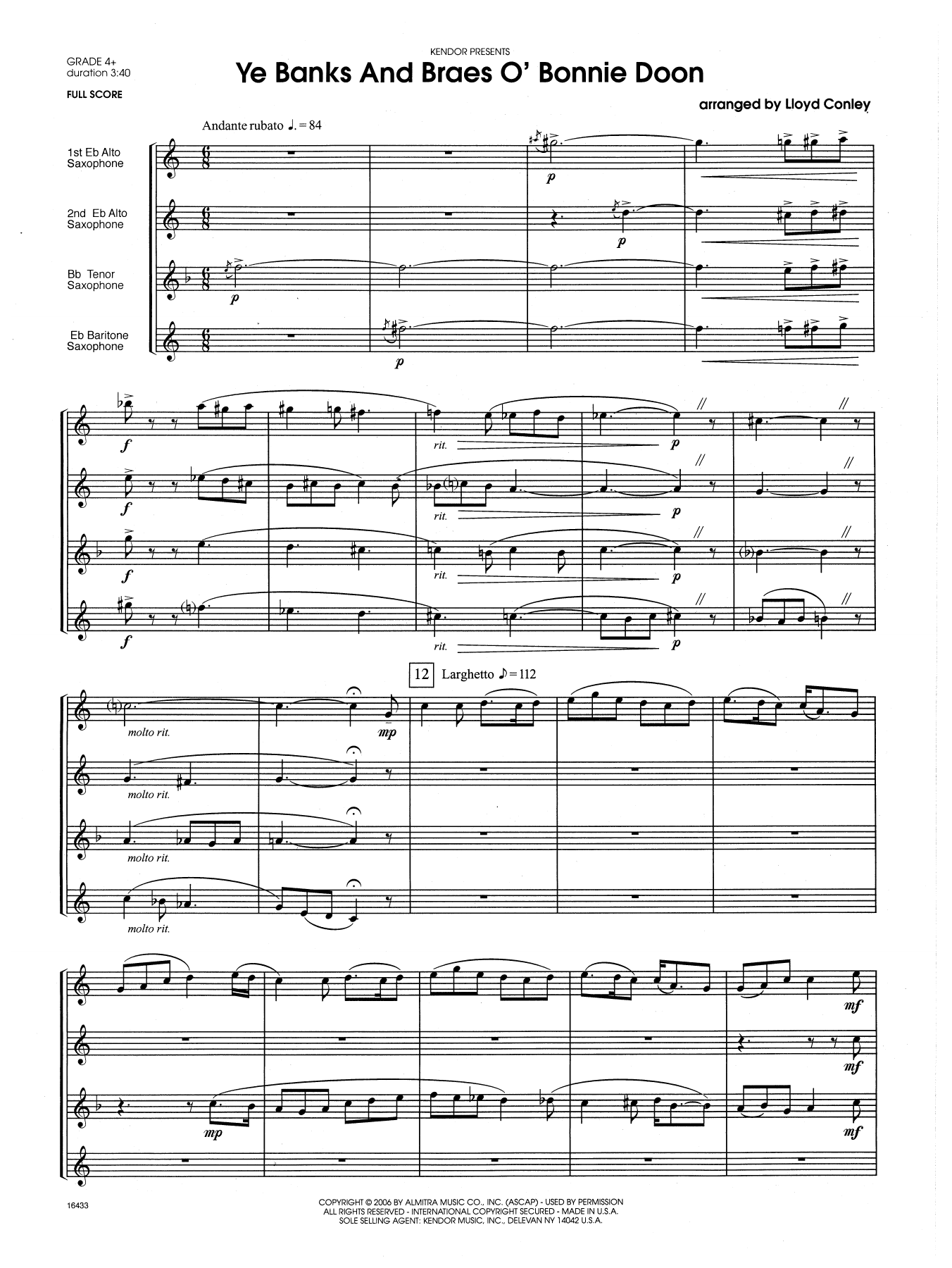 Ye Banks and Braes o' Bonnie Doon (COMPLETE) sheet music for saxophone quartet by Lloyd Conley. Score Image Preview.