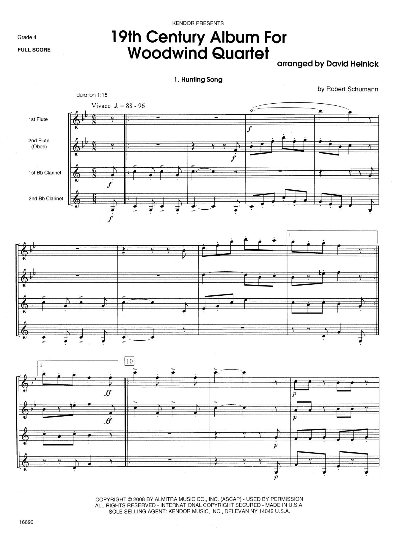 19th Century Album For Woodwind Quartet (COMPLETE) sheet music for wind quartet by David Heinick. Score Image Preview.