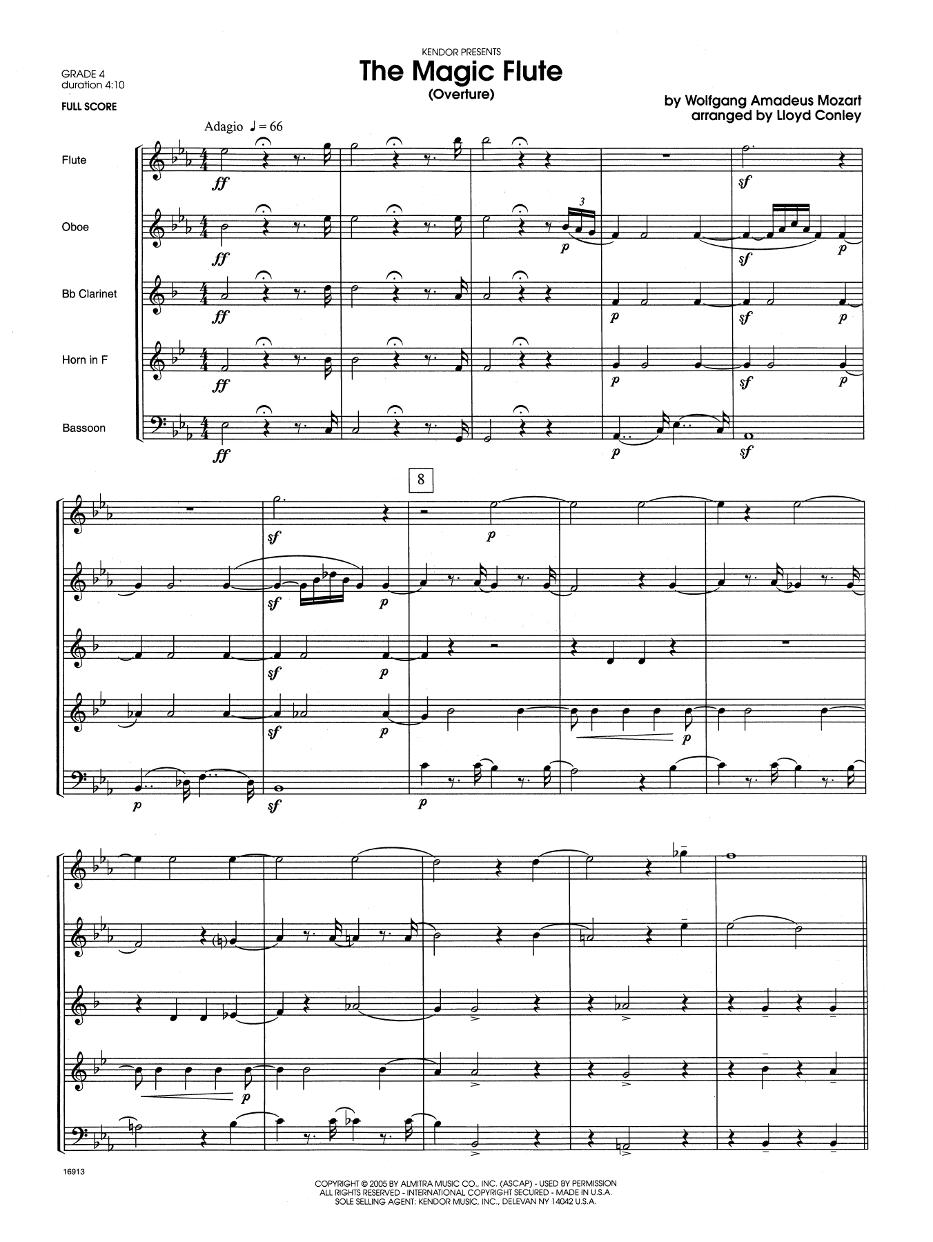 The Magic Flute (Overture) (COMPLETE) sheet music for wind quintet by Lloyd Conley and Wolfgang Amadeus Mozart. Score Image Preview.