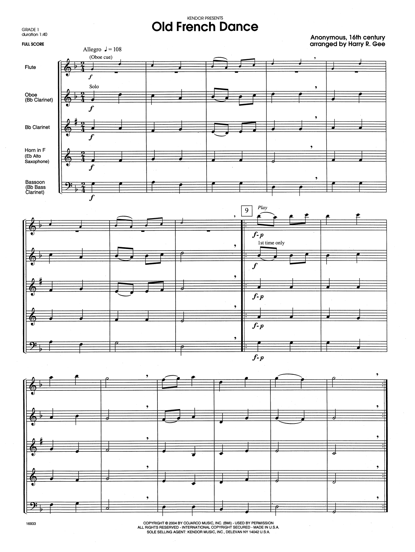 Old French Dance (COMPLETE) sheet music for wind quintet by Harry R. Gee. Score Image Preview.