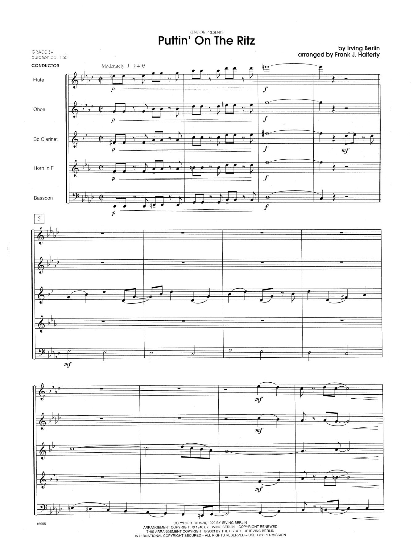 Puttin' on the Ritz (COMPLETE) sheet music for wind quintet by Frank J. Halferty and Berlin. Score Image Preview.
